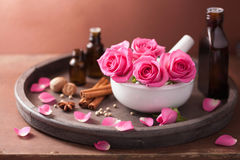 Spa and aromatherapy set rose mortar spices Stock Photography