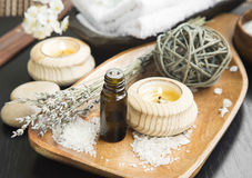 Spa Aromatherapy Setting with Essence and Candles Royalty Free Stock Images