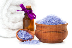 Spa with aromatic candles,orchid flower and towel Stock Photography