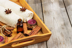 Spa assortment with organic essential oil Stock Photo