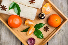 Spa assortment with organic tangerine essential oil Royalty Free Stock Image