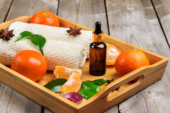 Spa assortment with organic tangerine essential oil Royalty Free Stock Photo