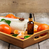 Spa assortment with organic tangerine essential oil Stock Photo