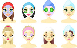 Spa Avatar Icon Women. A young ladys set with a beauty mask on their face vector illustration