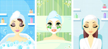 Spa Avatar Icon Women. A young ladys set with a beauty mask on their face royalty free illustration