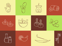 SPA and ayurveda icons Royalty Free Stock Photos