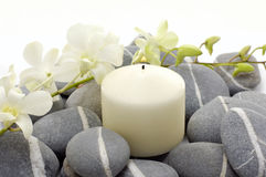 Spa background. Beautiful white flowers, pebbles and candle-spa background royalty free stock images