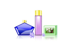 Spa background. Perfume bottles and soap on white background vector illustration