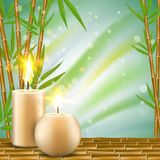 Spa background with bamboo and aroma candles vector realistic illustration. Spa background with bamboo and aroma candles. Vector realistic illustration. Spa Stock Photography