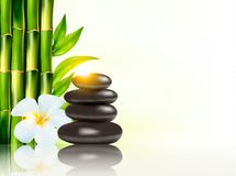 Spa background with bamboo and stones. Royalty Free Stock Image