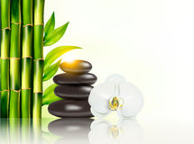 Spa background with bamboo and stones. Stock Photo