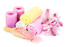 Spa background with bath accessories Stock Photo