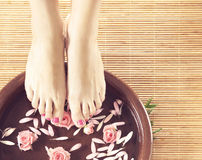 Spa background of beautiful feet and petals. Legs, flowers, petals and ceramic bowl. Spa, recreation and skin care concept Royalty Free Stock Photography