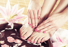 Spa background with a beautiful feet and petals. Beautiful legs, flowers, petals and ceramic bowl. Summer spa background Royalty Free Stock Photos