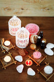 Spa background with candles and treatment products Stock Photo