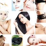 Spa background collage. With a beautiful girls Stock Photos