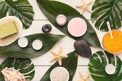 Spa background with facial mask and cream on white wood. Beauty spa background, top view. Various cosmetic products on white wood. Sea salt, natural olive soap Stock Photography