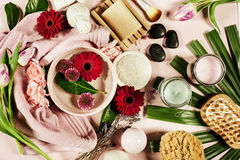 Spa background. Flat lay Royalty Free Stock Photo