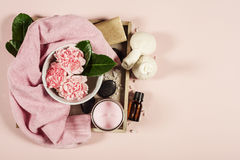 Spa background. Flat lay Royalty Free Stock Images