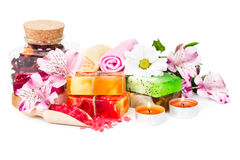 Spa background with flowers and bath accessories Royalty Free Stock Images