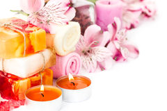 Spa background with flowers and bath accessories Stock Photography