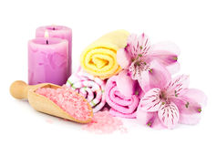 Spa background with flowers and bath accessories Royalty Free Stock Photos