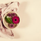 Spa background with flowers and towel Stock Photography