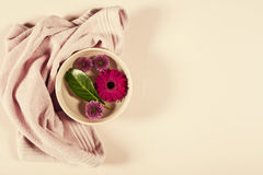 Spa background with flowers and towel Stock Image