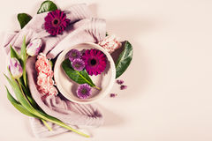 Spa background with flowers and towel Stock Photo