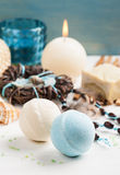 Spa background with organic soap, bath bombs, salt Stock Photo