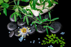 Spa background of passiflora flower, branches, towels, zen basal Royalty Free Stock Photography