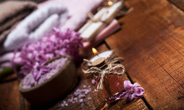 Spa background in range of pink and brown. Stock Photo