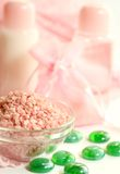 Spa background, rose bath salts Stock Photo