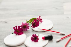 SPA background. Shallow. Cosmetics and cotton discs with flowers royalty free stock photo