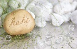 Free Spa Background With A Stone And A German Word For Calmness Stock Photo - 36243110