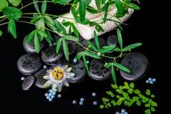 Spa bakgrund av passiflorablomman, filialer, handdukar, grundläggande zen Royaltyfri Fotografi