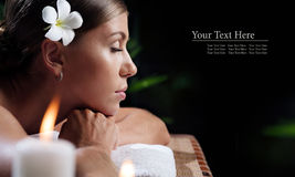 Spa banner. Portrait of young beautiful woman in spa environment. banner stock photos