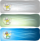 Spa banners. Beautiful spa designs relaxation symbol, stones, flower and candles Stock Photography