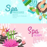 Spa Banners Set. Spa therapy and procedures horizontal banners set isolated vector illustration Royalty Free Stock Image