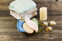 Spa basic Hygiene Accessories on Rustic Wood Royalty Free Stock Image