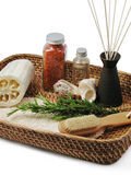 Spa basket of body treatments royalty free stock photo