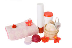 Spa and Bath Accessories. Bath items including sponge, salt and shapoo over white royalty free stock photography