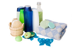 Spa and Bath Accessories. Bath items including sponge, salt and shapoo over white stock images