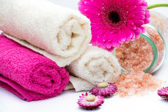 Spa bath accessories with bath salt Royalty Free Stock Photography