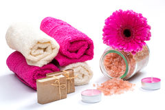 Spa bath accessories with soap,bath salt Royalty Free Stock Photo
