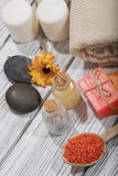 Spa bath cosmetic. soap beauty treatment background Stock Image