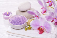 Spa and bath with orchids. Spa and bath towel with orchids royalty free stock photos