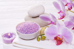 Spa and bath with orchids Stock Photography
