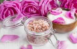 Spa bath salt in a jar with roses and body lotion Stock Images