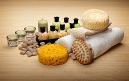 Spa - bath salt and massage tools Royalty Free Stock Images